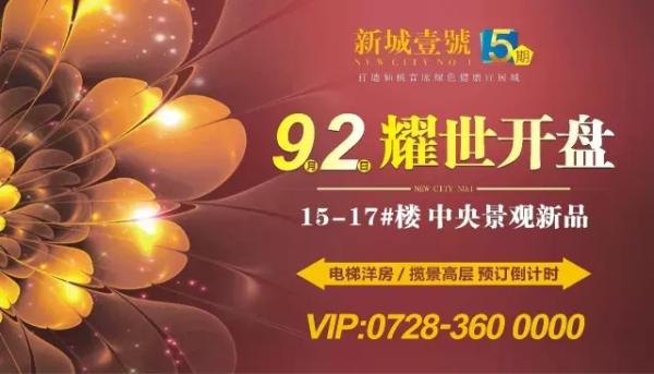 9月2日新城壹号五期B区中央景观宜居新品 耀世开盘!!