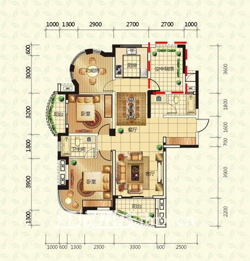 仙桃公园世家户型图(85~114平米)